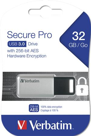 Pendrive 32GB USB 3.0 PC & MAC GDPR VERBATIM SECURE DATA PRO szürke -
